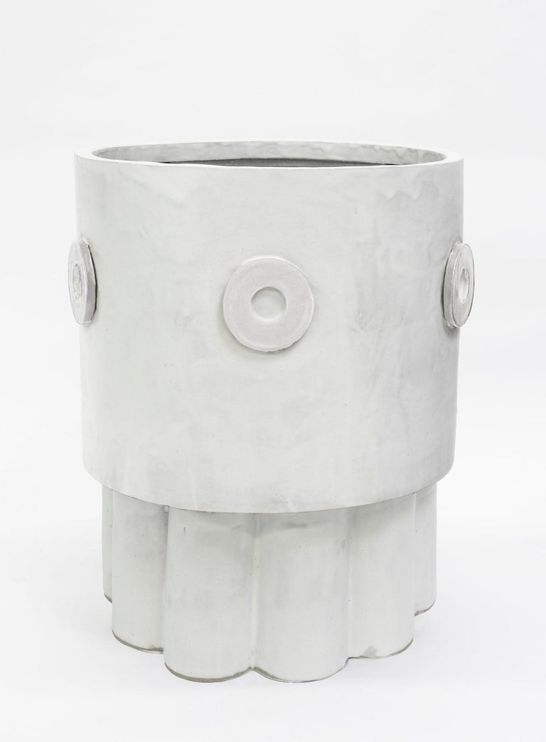 Jumbo Contemporary Ceramic Marshmallow Ruffle Planter for indoor or outdoor use in specific climates. Unlimited edition, individual planters are unique in size, glaze, and shape which are well crafted by hand in our Los Angeles production warehouse