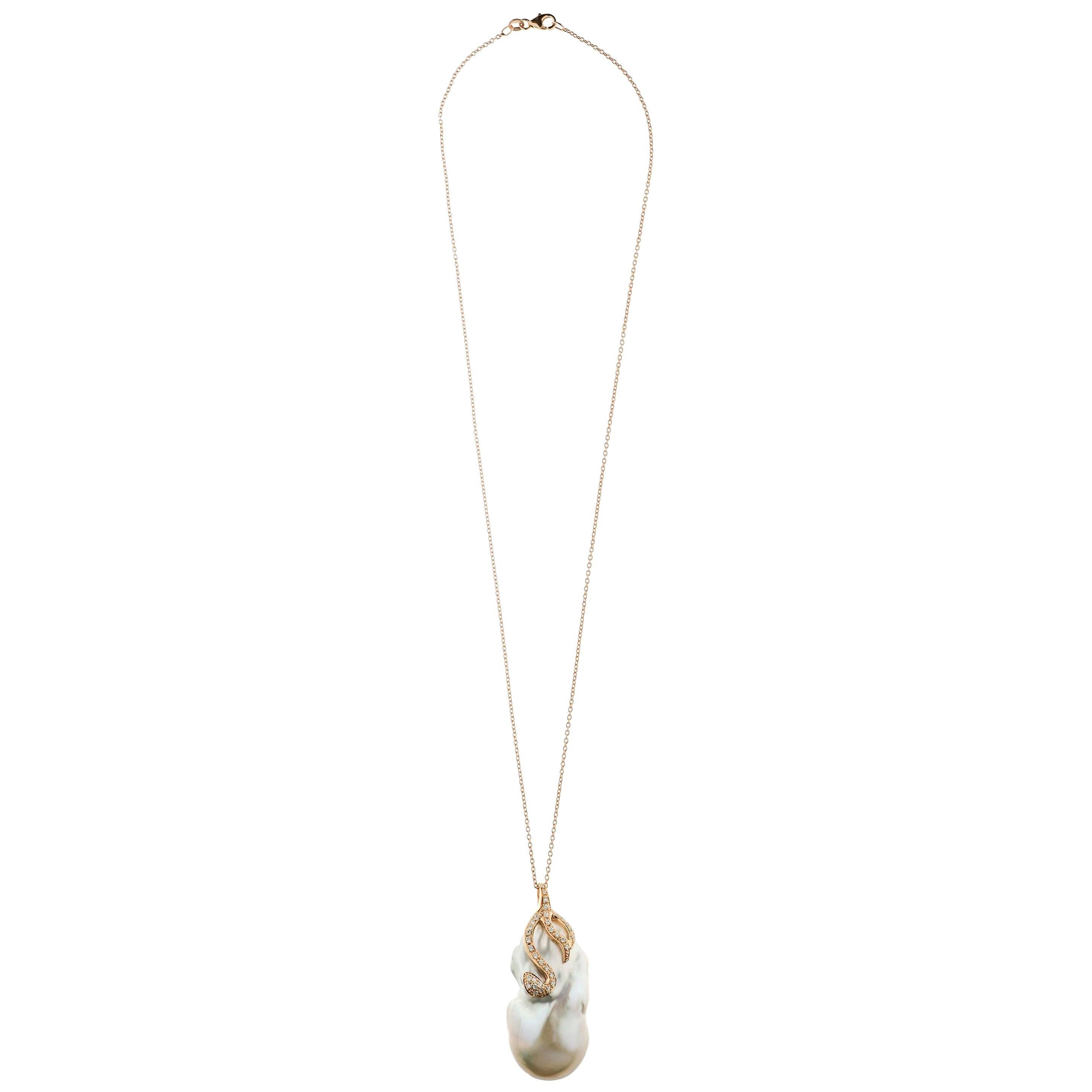 Jumbo Freshwater Pearl, Diamond and 18 Karat Rose Gold Chain and Pendant