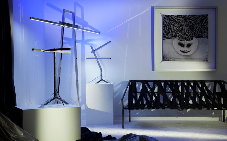 Metal Jumbo Group/JCP Universe Sun-Ra Bird Table Lamp by Nanda Vigo For Sale