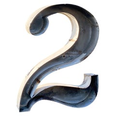"""Jumbo Midcentury Channel Number Sign """"2"""""""