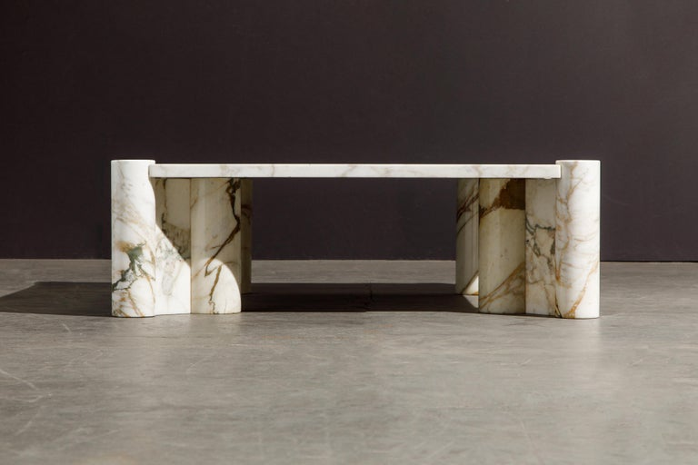 This pièce de résistance is considered the holy grail of 'Jumbo' cocktail tables due to the rare golden Calacatta marble which features dramatic veins in gold and grey. The 'Jumbo' table is already extremely sought after and original early
