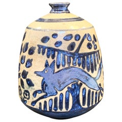 """Jumping Fox,"" Gorgeous Art Deco Vase by Primavera with Iridescent Blue Glaze"