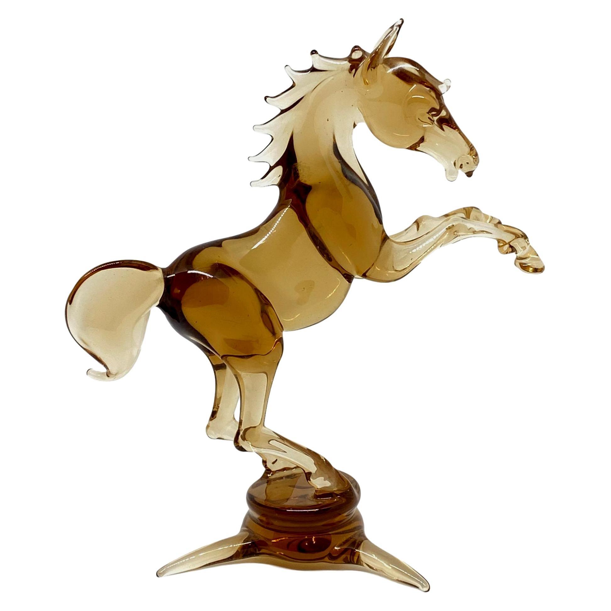 Jumping Horse Bimini Style Art Glass Sculpture Figure Mid-20th Century