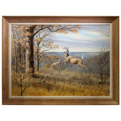 Jumping Whitetail Original Oil Painting by Maynard Reese