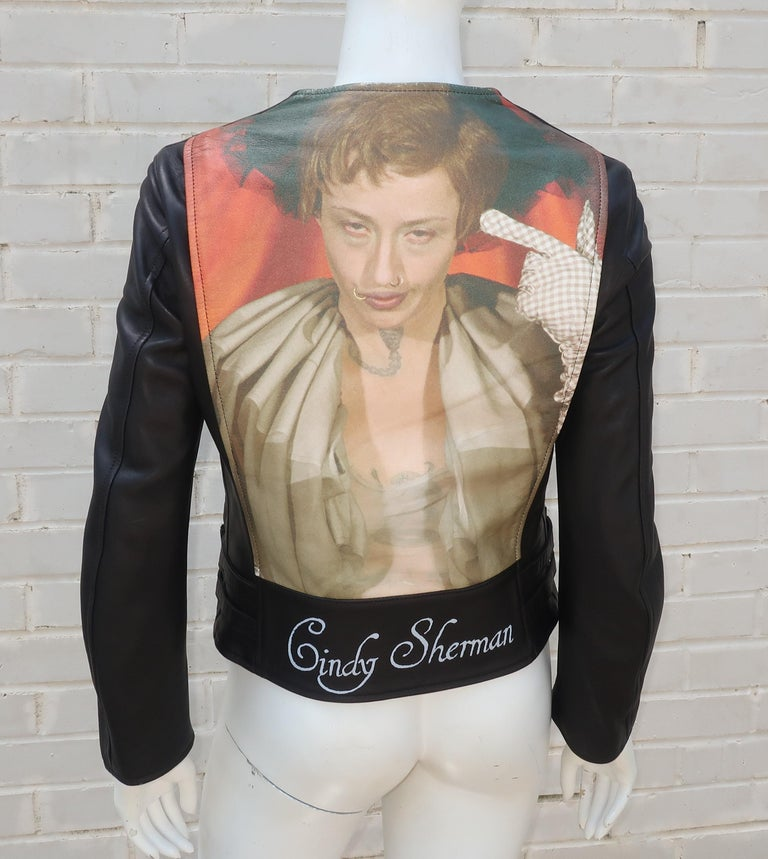 Jun Takahashi's collaboration with his friend and fellow artist, Cindy Sherman, has produced a series of evocative pieces of wearable art including this black leather motorcycle jacket printed with one of Sherman's portraits on the back.  The jacket