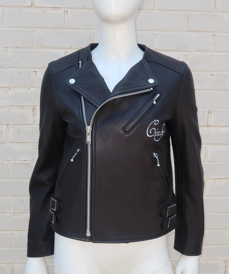 Jun Takahashi Undercover Cindy Sherman Black Leather Motorcycle Jacket In Good Condition For Sale In Atlanta, GA
