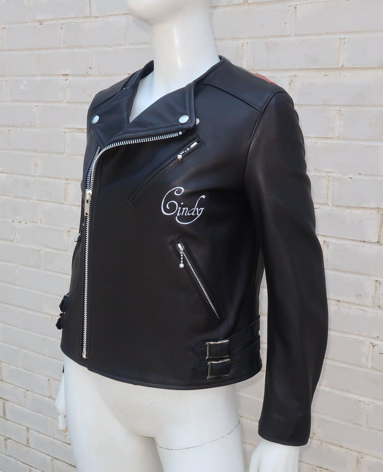 Women's Jun Takahashi Undercover Cindy Sherman Black Leather Motorcycle Jacket For Sale