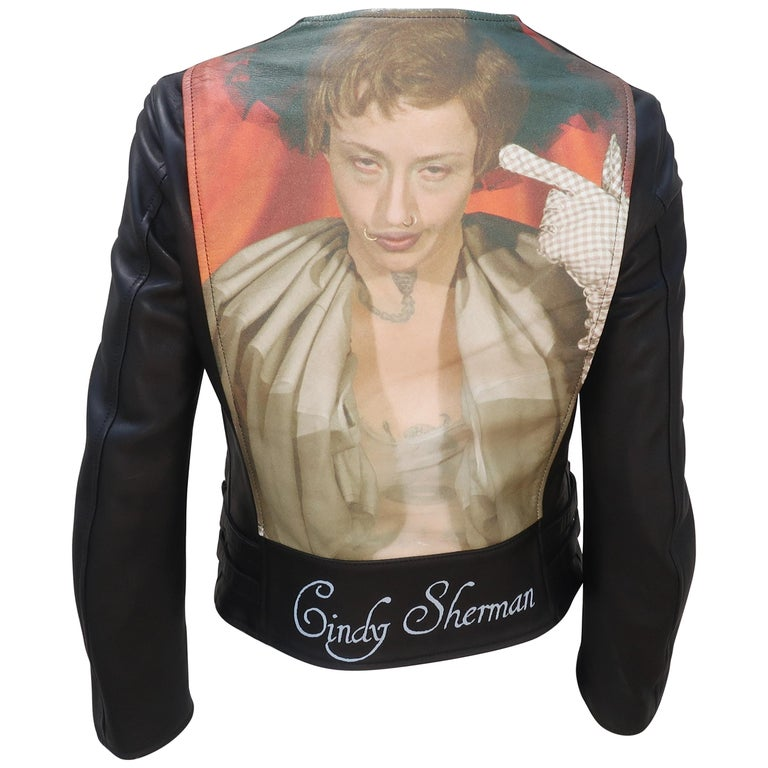 Jun Takahashi Undercover Cindy Sherman Black Leather Motorcycle Jacket For Sale