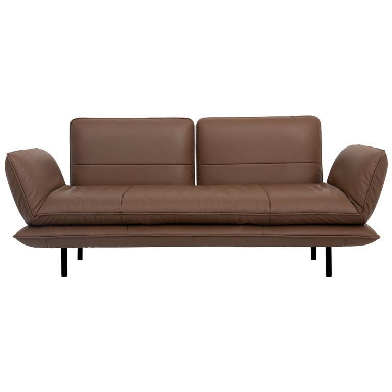 For Sale: Brown (Whisky) Juna Convertible Leather Sofa by FSM