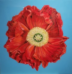 African Poppy, Realism, Acrylic w/Resin, Floral Painting, Gallery Wrap