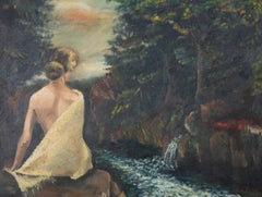 June Conning Barker - 1964 Oil, Figure by Water Stream
