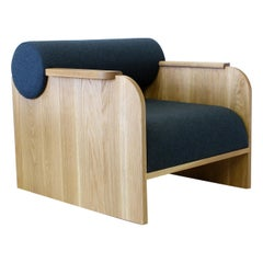 June Contemporary Lounge Chair in Wood and Fabric by Crump & Kwash