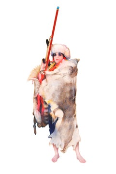 Naomi, Figurative Western Portrait of Strong Female in Pink, Fur with Red Gun