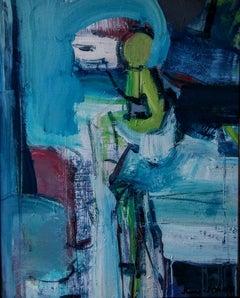 """Bull And Toreador"", Painting, Acrylic on Canvas"