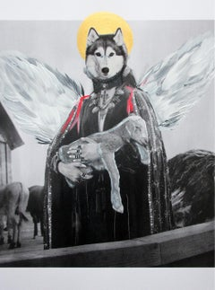 """Untitled (Dog Angel Holding Lamb),"" 2018 unique artwork by June Kim"