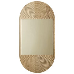June Mirror, Large in Carved White Oak and Bronze Mirror
