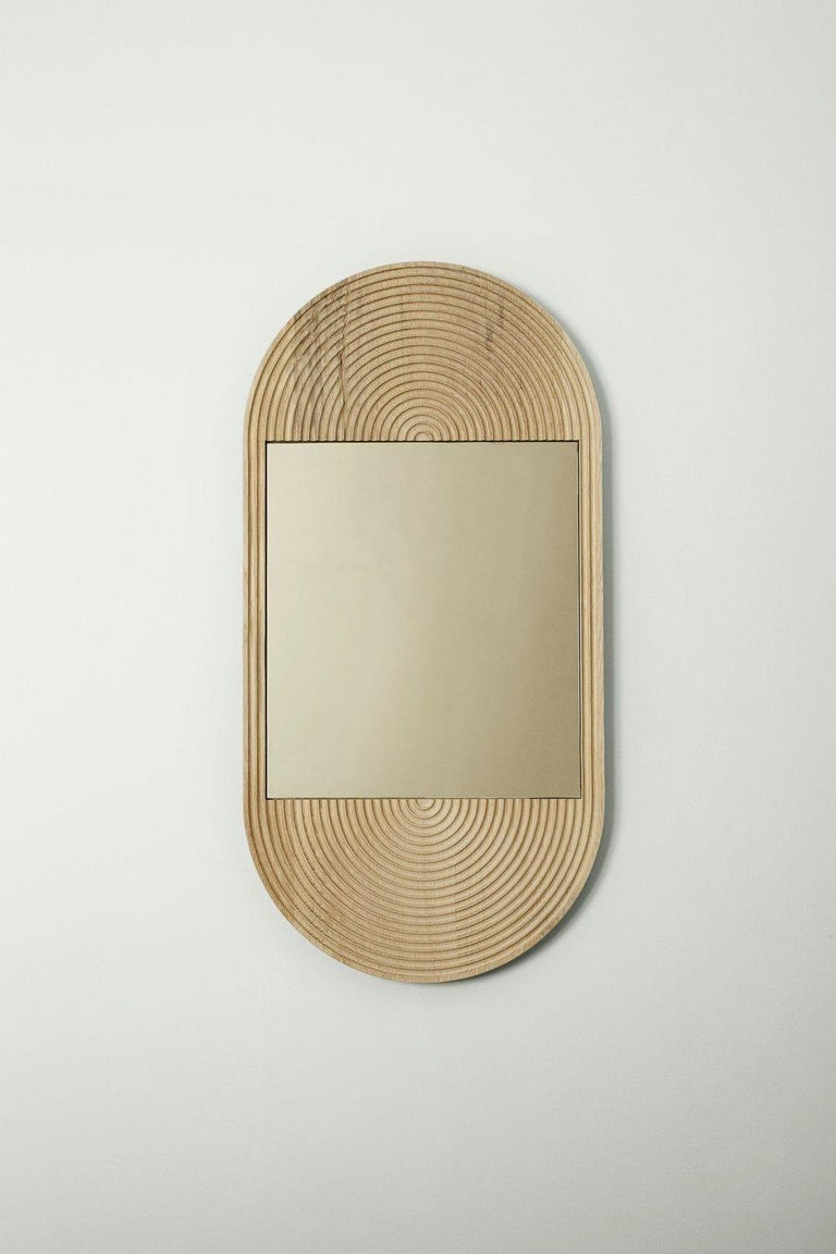 American June Mirror, Small in Carved White Oak and Bronze Mirror For Sale