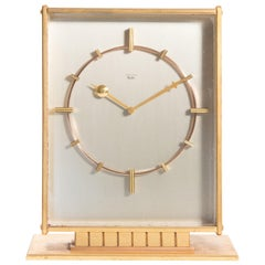 Junghans Mid-Century Modern Large Desk Clock with Jeweled Movement