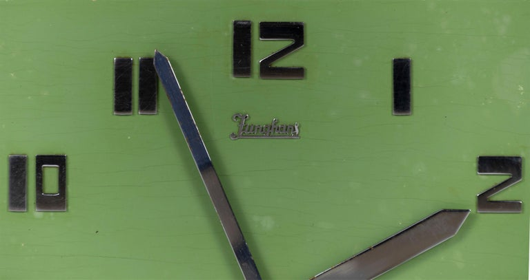 Junghans Mint colored Art Deco Wall Clock, Made in Germany in the 1920s In Fair Condition For Sale In Enschede, Overijssel