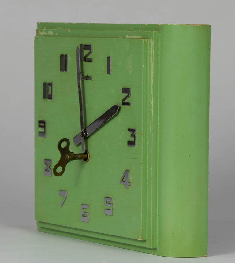 Early 20th Century Junghans Mint colored Art Deco Wall Clock, Made in Germany in the 1920s For Sale