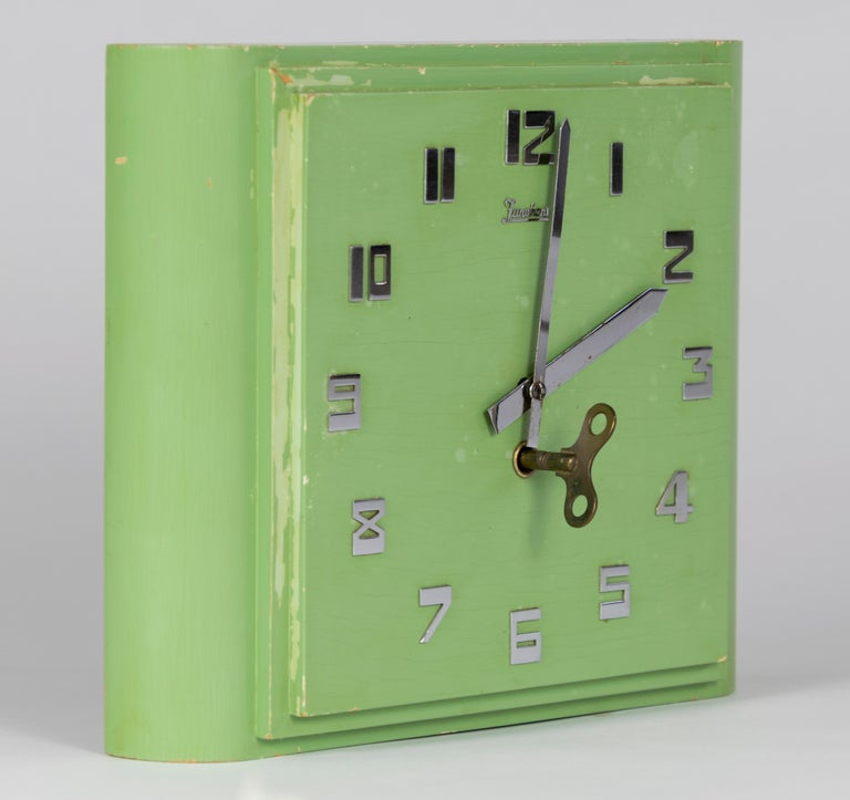 Pine Junghans Mint colored Art Deco Wall Clock, Made in Germany in the 1920s For Sale