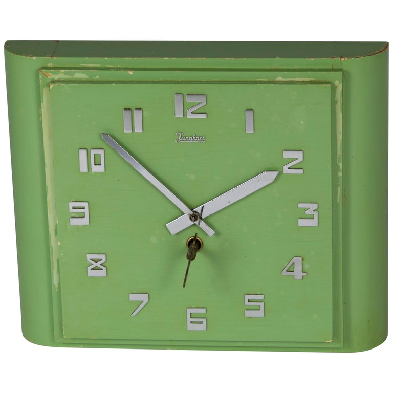 Junghans Mint colored Art Deco Wall Clock, Made in Germany in the 1920s For Sale