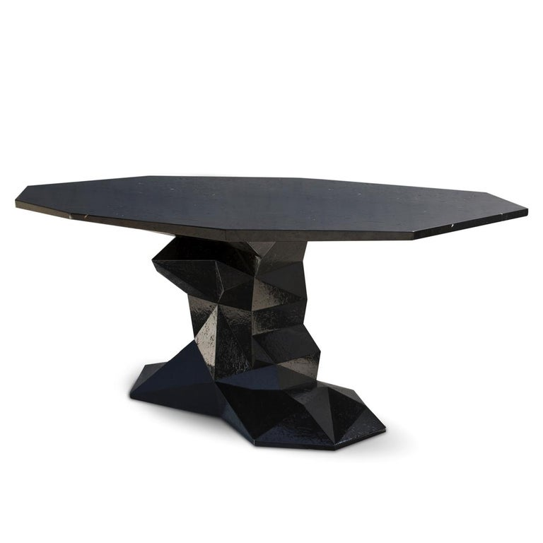 Portuguese Jungle Black Dining Table Glossy Black Lacquered Wood For Sale