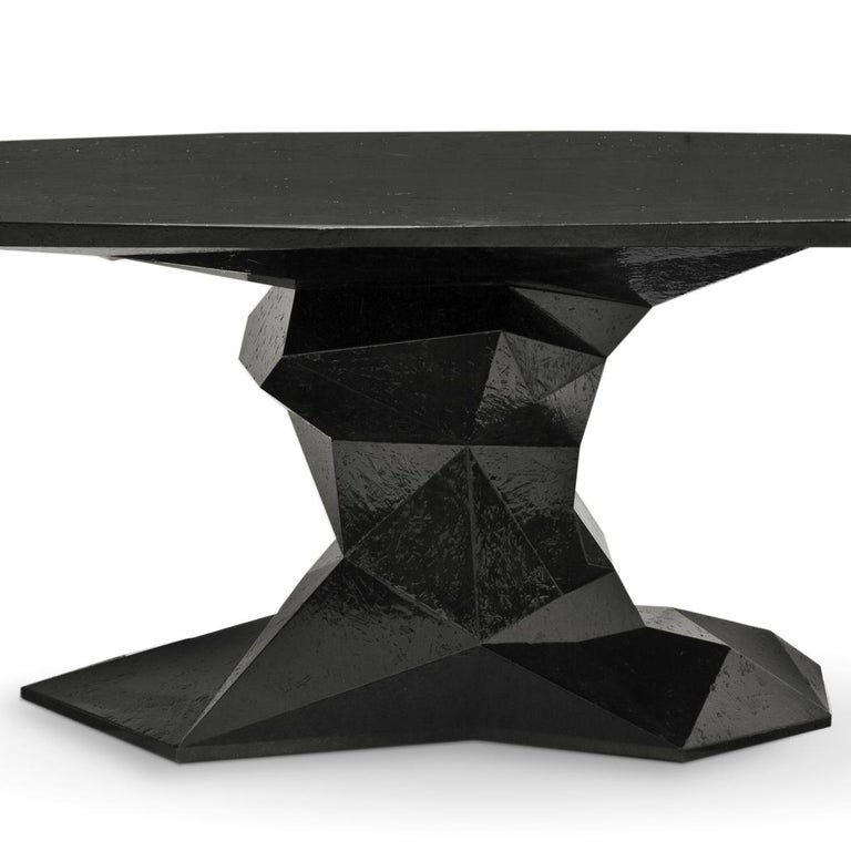 Jungle Black Dining Table Glossy Black Lacquered Wood In New Condition For Sale In Paris, FR