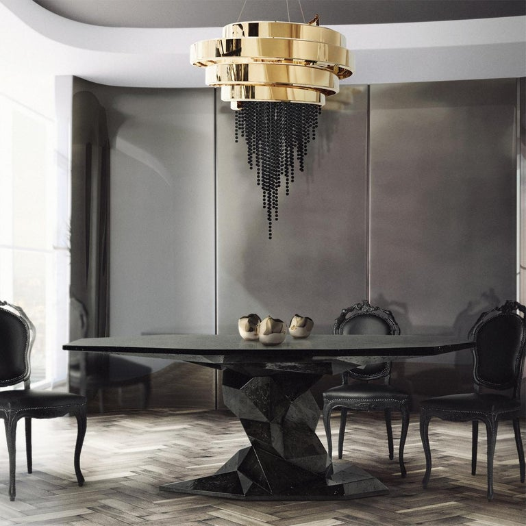 Jungle Black Dining Table Glossy Black Lacquered Wood For Sale 3