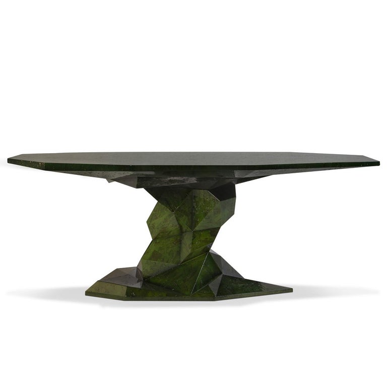 Jungle Black Dining Table Glossy Black Lacquered Wood For Sale 4