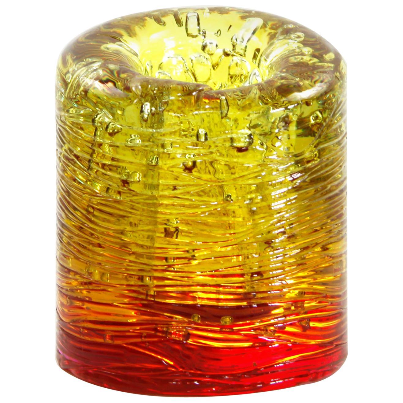Jungle Contemporary Vase, Small Bicolor Gold and Red by Jacopo Foggini