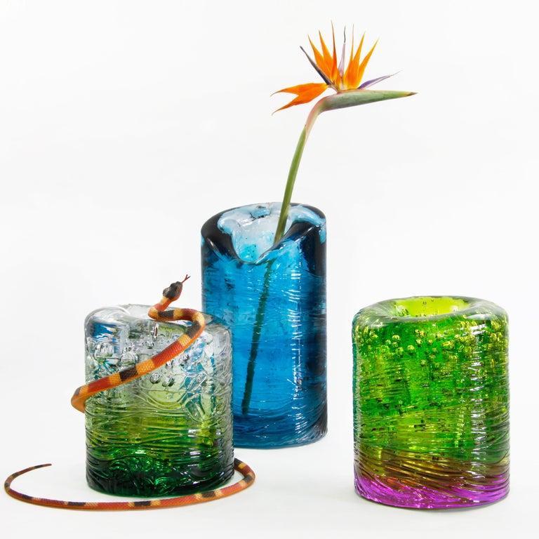 Italian Jungle Contemporary Vase, Small Bicolor Gold and Violet by Jacopo Foggini For Sale
