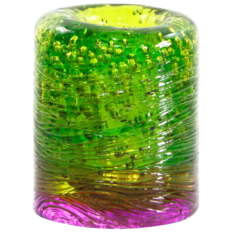 Jungle Contemporary Vase, Small Bicolor Lime Green and Violet by Jacopo Foggini