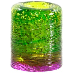 Jungle Contemporary Vase, Small Bicolor Lime Green and Violet by Jacopo Foggini