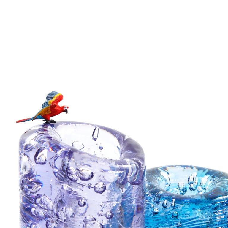 Modern Jungle Contemporary Vase, Small Bicolor Transparent and Blue by Jacopo Foggini For Sale