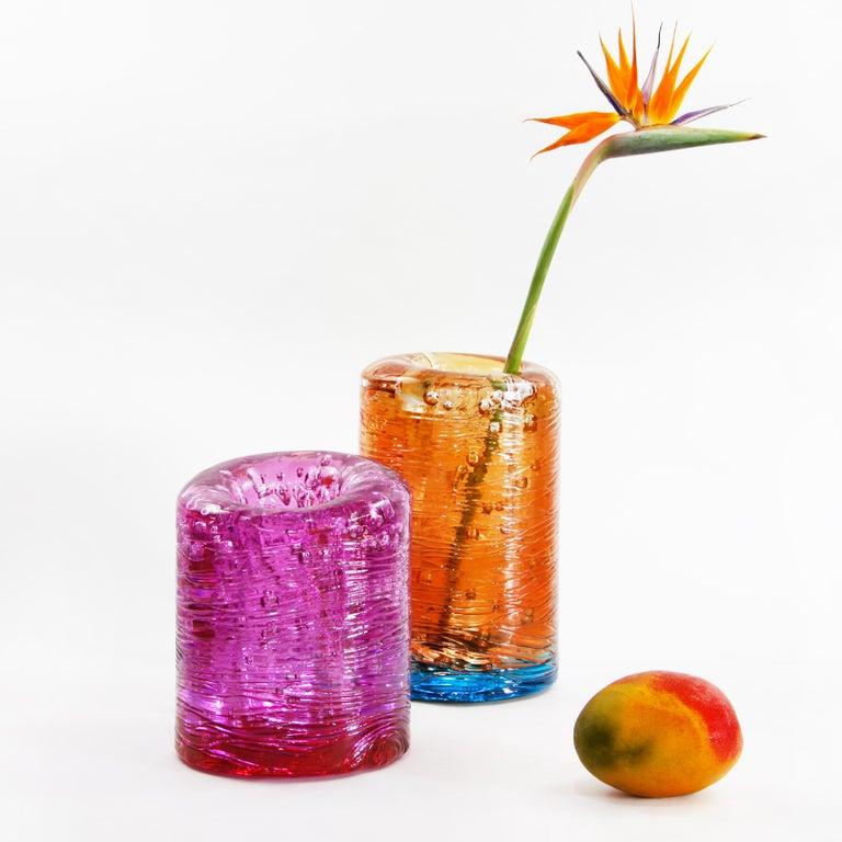 Resin Jungle Contemporary Vase, Small Bicolor Transparent and Blue by Jacopo Foggini For Sale