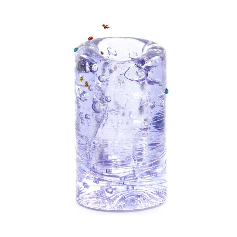 Jungle Contemporary Vase, Small Bicolor Transparent and Blue by Jacopo Foggini For Sale 1