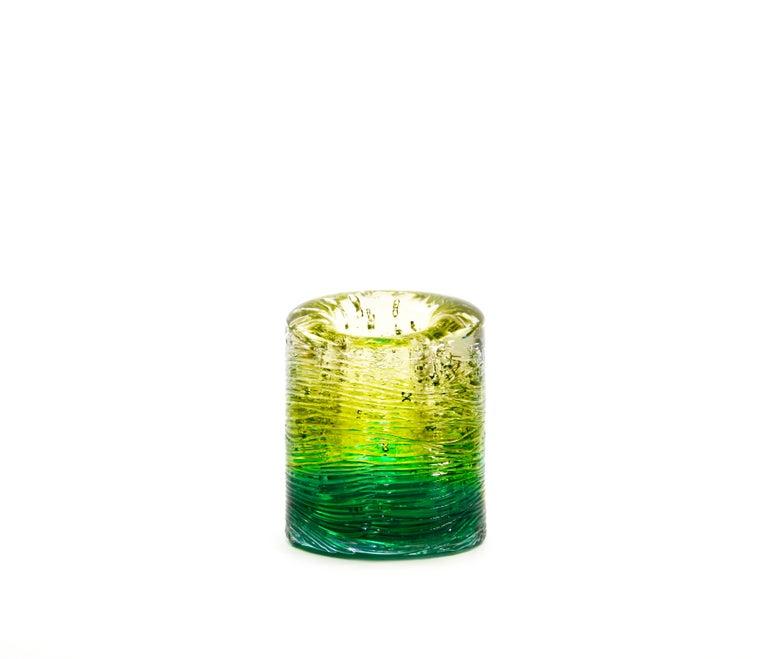 Jungle Contemporary Vase, Small Bicolor Transparent and Blue by Jacopo Foggini For Sale 2