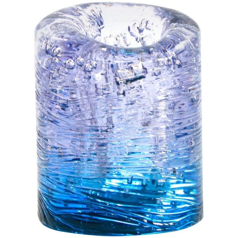 Jungle Contemporary Vase, Small Bicolor Transparent and Blue by Jacopo Foggini For Sale