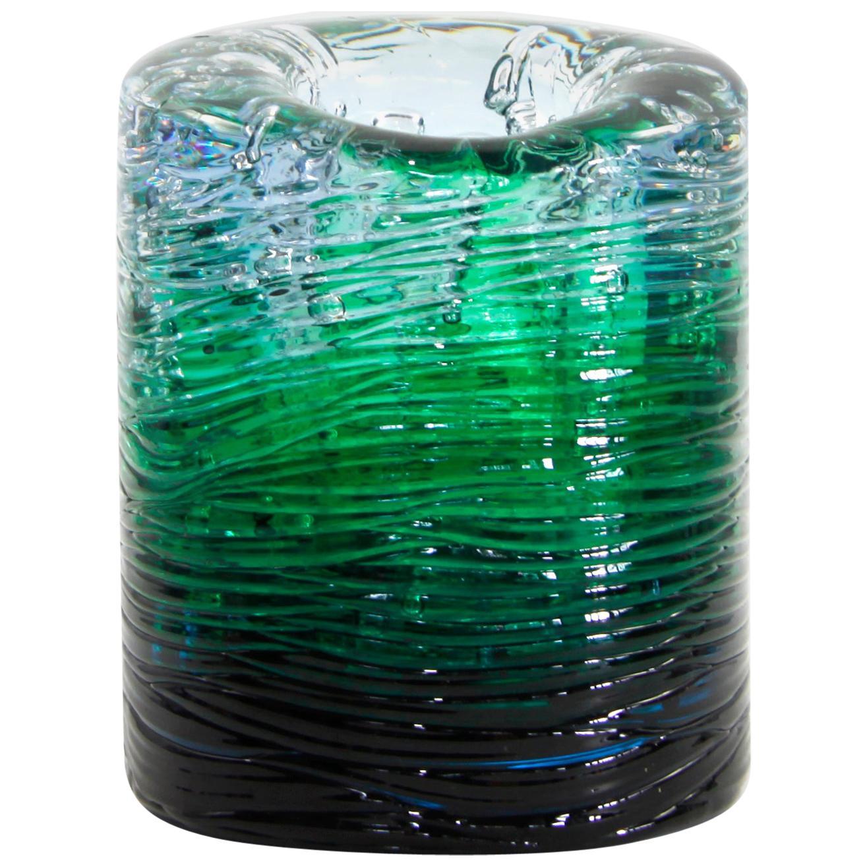 Jungle Contemporary Vase, Small Bicolor Transparent and Green by Jacopo Foggini