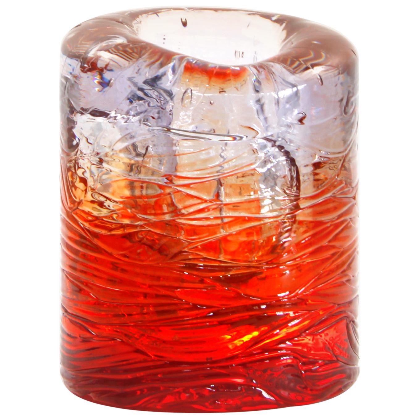 Jungle Contemporary Vase, Small Bicolor Transparent and Red by Jacopo Foggini