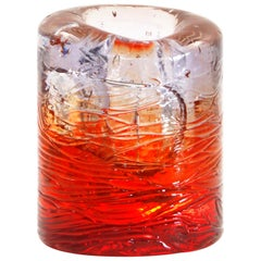 Jungle Contemporary Vase, Small Bicolor Transparent and Red by Jacopo Foggini
