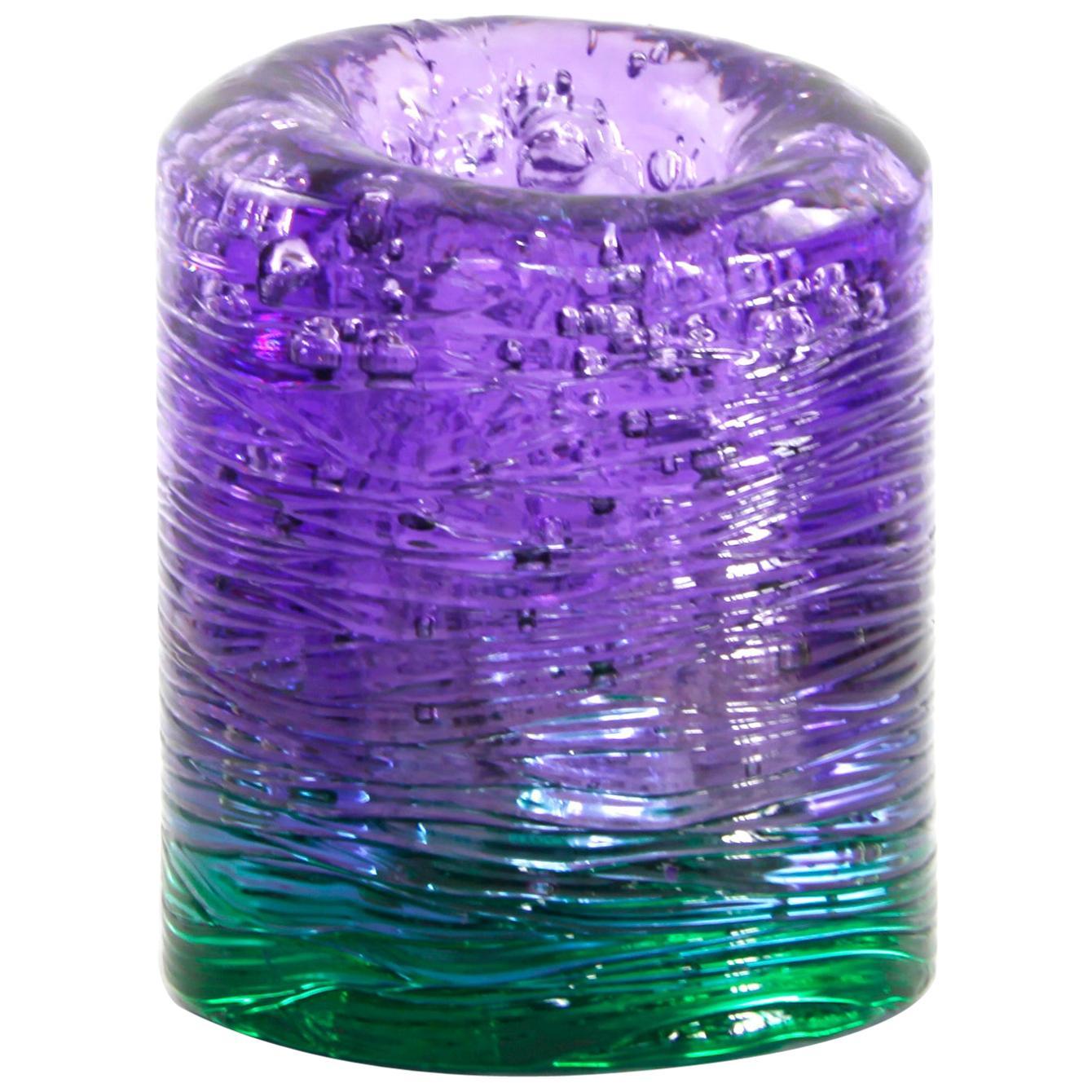 Jungle Contemporary Vase, Small Bicolor Violet and Green by Jacopo Foggini