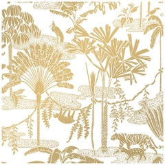 Jungle Dream Designer Screen Printed Wallpaper in Sphinx 'Gold on White'