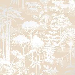Jungle Dream Designer Screen Printed Wallpaper in Stardust 'Silver on Oatmeal'