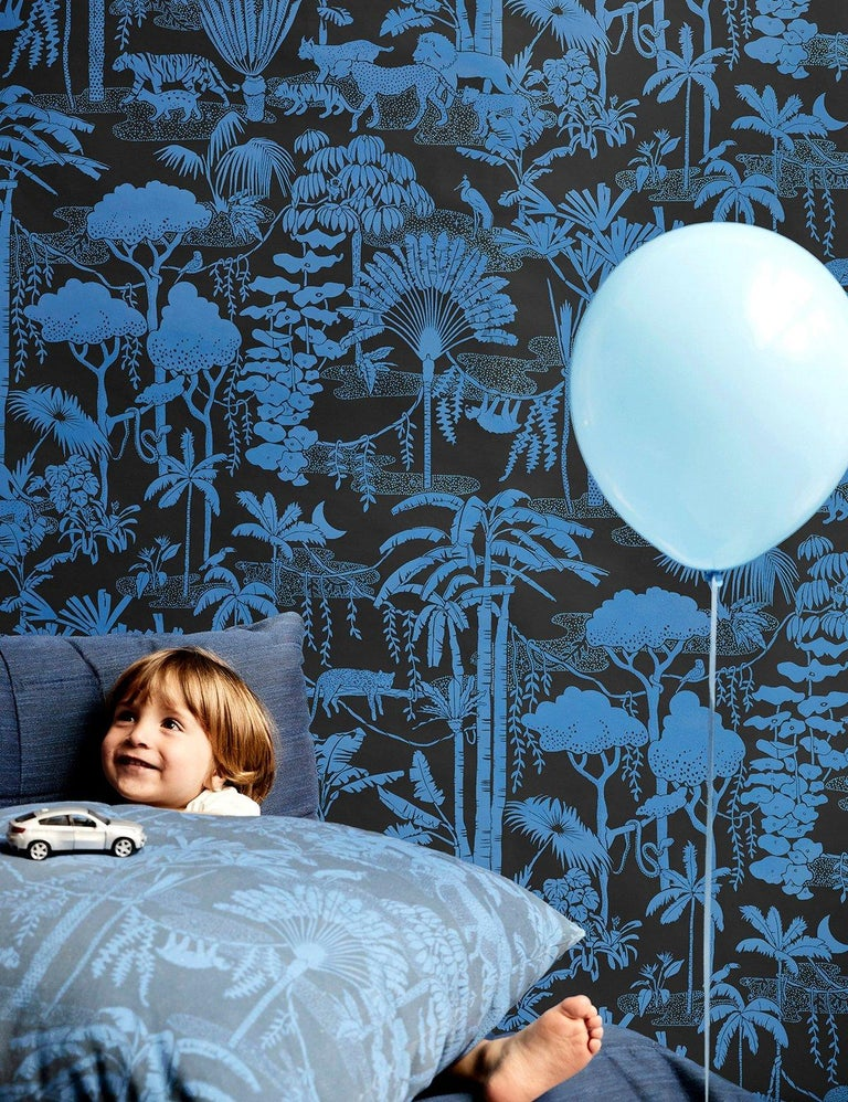 Modern Jungle Dream Designer Wallpaper in Color Mediterranean 'True Blue and Black' For Sale