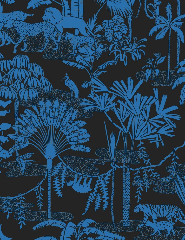 American Jungle Dream Designer Wallpaper in Color Mediterranean 'True Blue and Black' For Sale