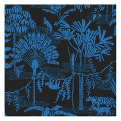 Jungle Dream Designer Wallpaper in Mediterranean 'True Blue and Black'