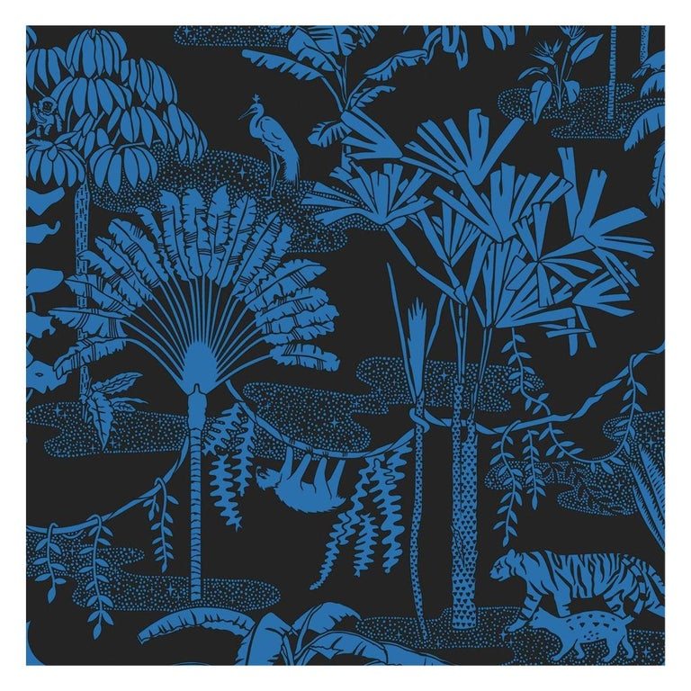 Jungle Dream Designer Wallpaper in Color Mediterranean 'True Blue and Black' For Sale