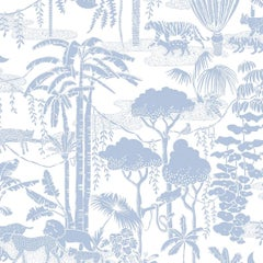 Jungle Dream Designer Wallpaper in Bluebell 'Dusty Blue and White'